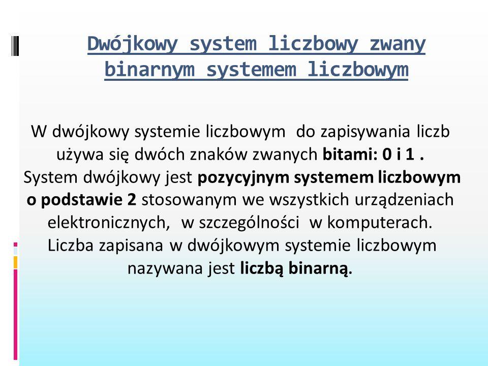 Dwójkowy system liczbowy zwany binarnym systemem liczbowym