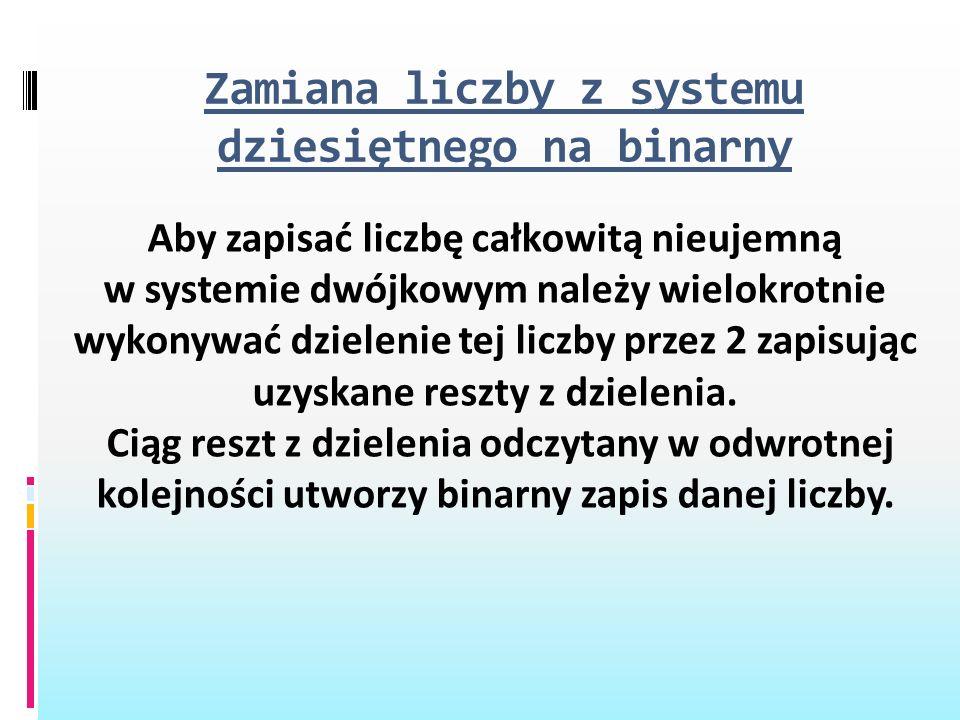 Zamiana liczby z systemu dziesiętnego na binarny