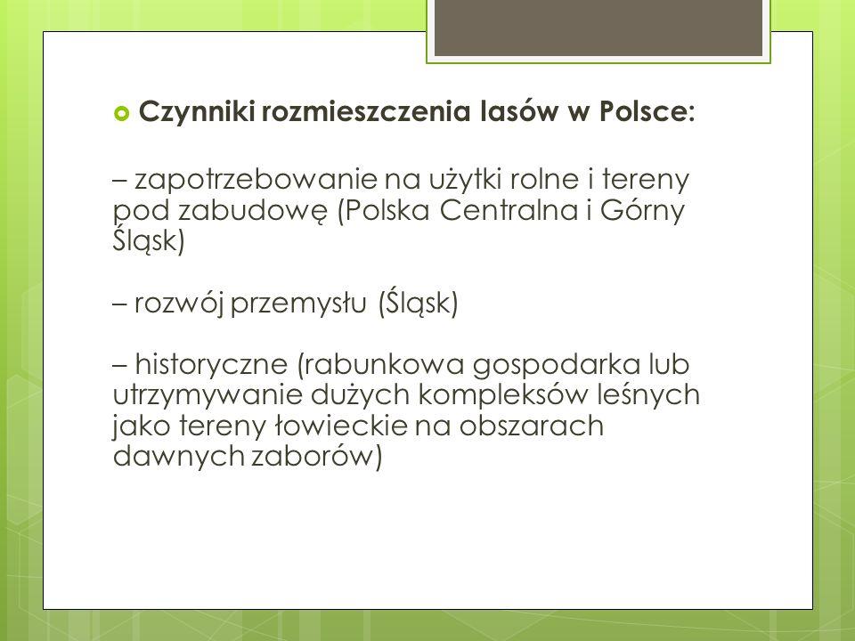 Czynniki rozmieszczenia lasów w Polsce: