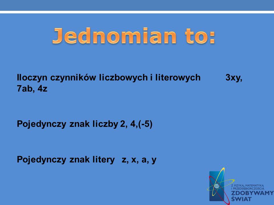 Jednomian to:Iloczyn czynników liczbowych i literowych 3xy, 7ab, 4z Pojedynczy znak liczby 2, 4,(-5) Pojedynczy znak litery z, x, a, y