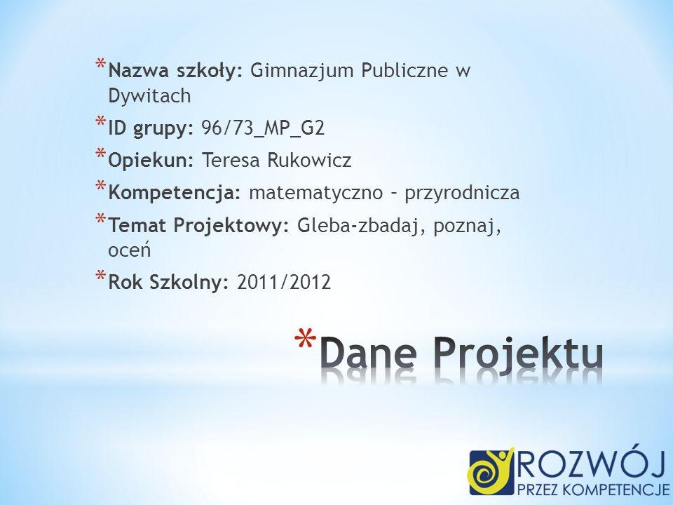 Dane Projektu Nazwa szkoły: Gimnazjum Publiczne w Dywitach