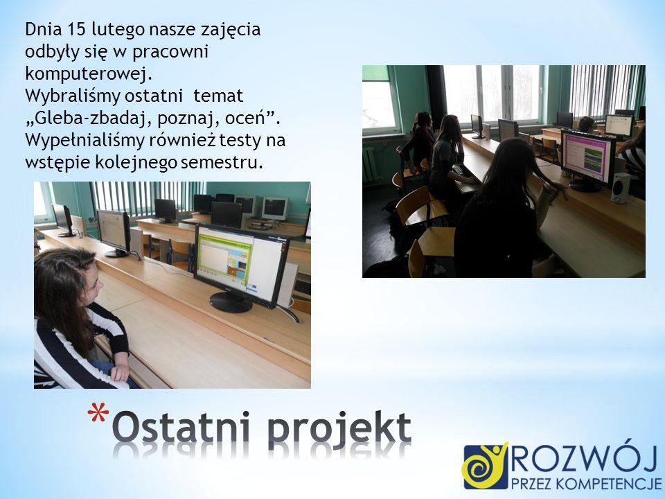 Dnia 15 lutego nasze zajęcia odbyły się w pracowni komputerowej.