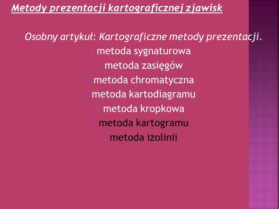 Osobny artykuł: Kartograficzne metody prezentacji.