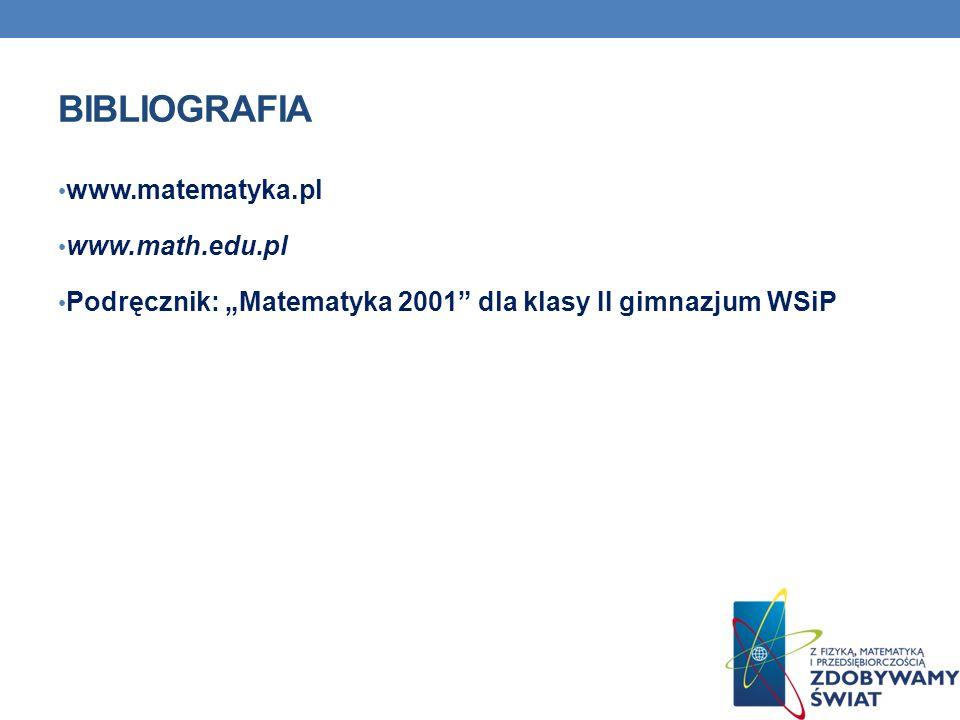 Bibliografia www.matematyka.pl www.math.edu.pl