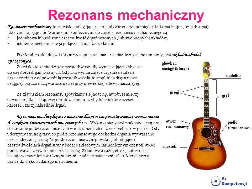 Rezonans mechaniczny Rezonans mechaniczny to zjawisko polegające na przepływie energii pomiędzy kilkoma (najczęściej dwoma)