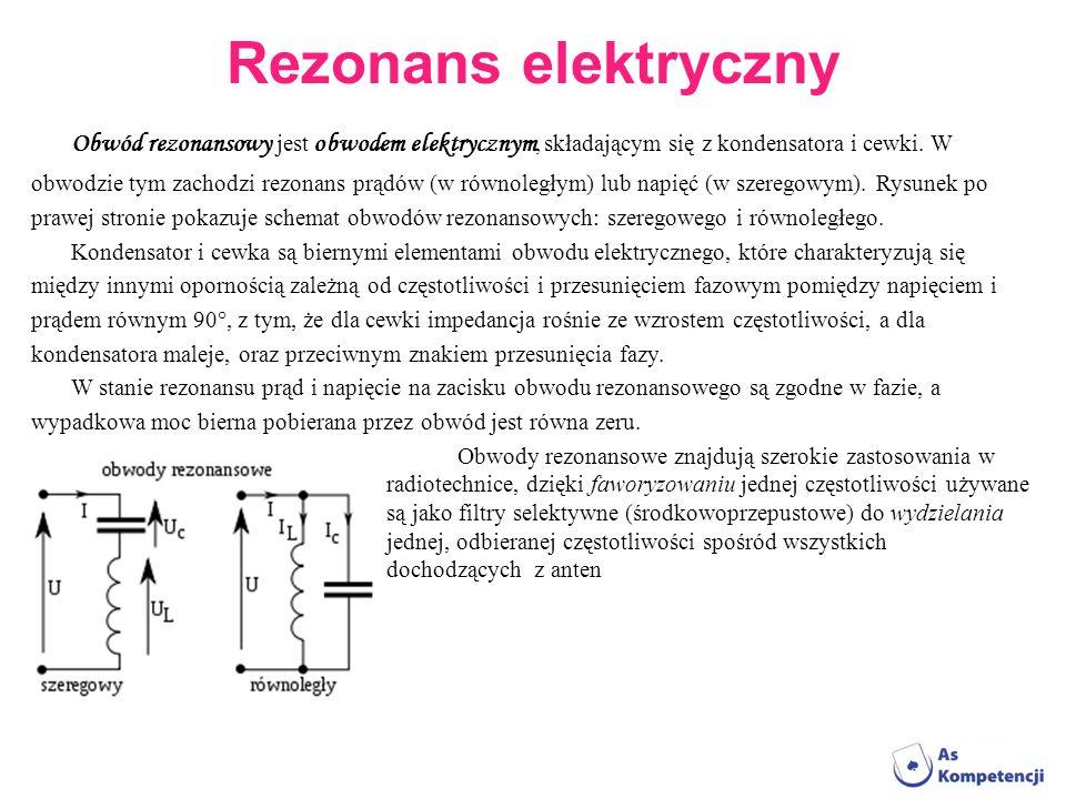 Rezonans elektryczny Obwód rezonansowy jest obwodem elektrycznym, składającym się z kondensatora i cewki. W.