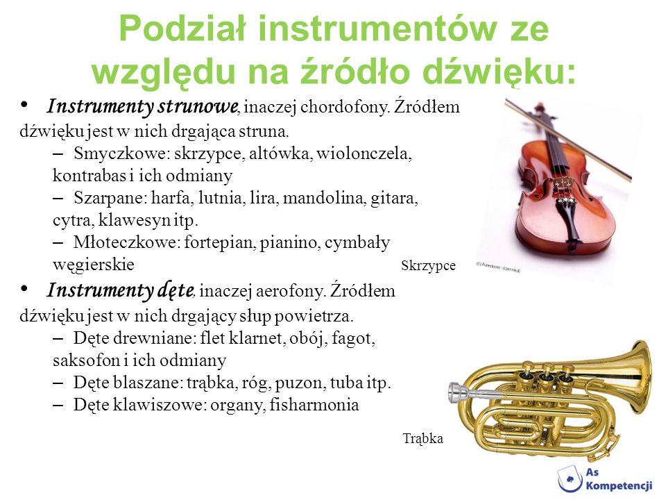 Podział instrumentów ze względu na źródło dźwięku: