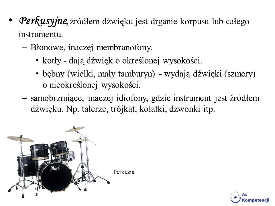Perkusyjne, źródłem dźwięku jest drganie korpusu lub całego instrumentu.