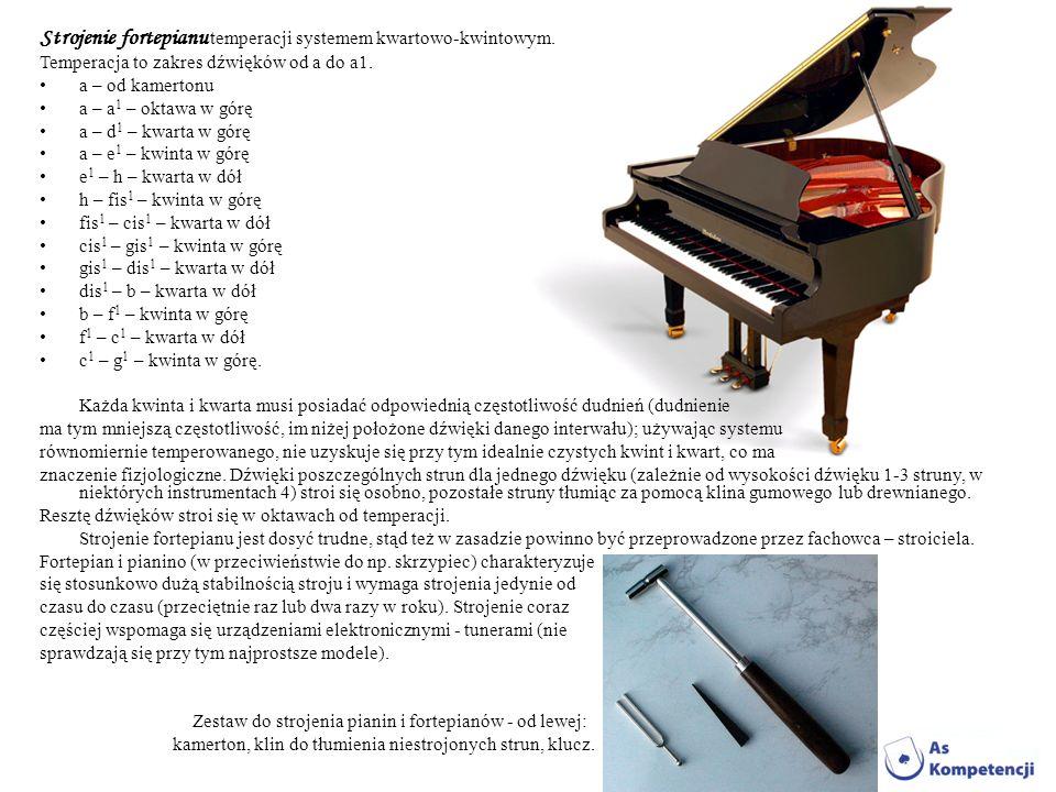 Strojenie fortepianu temperacji systemem kwartowo-kwintowym.