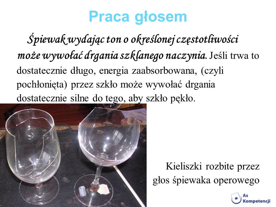 Praca głosem może wywołać drgania szklanego naczynia. Jeśli trwa to