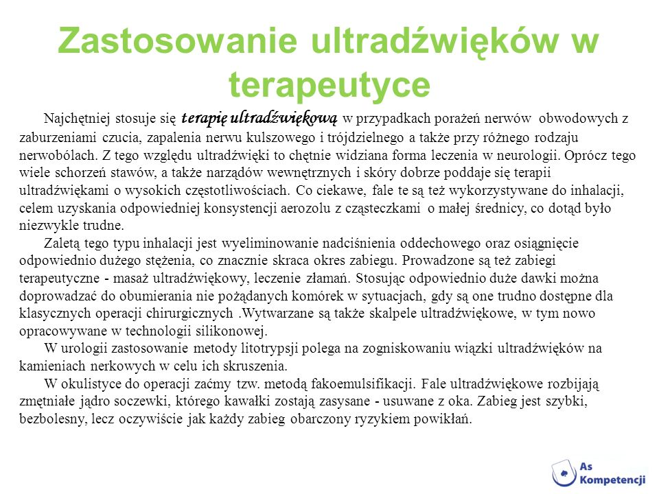 Zastosowanie ultradźwięków w terapeutyce