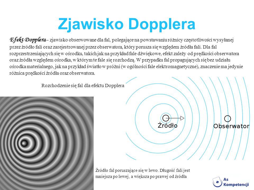 Zjawisko Dopplera Efekt Dopplera – zjawisko obserwowane dla fal, polegające na powstawaniu różnicy częstotliwości wysyłanej.