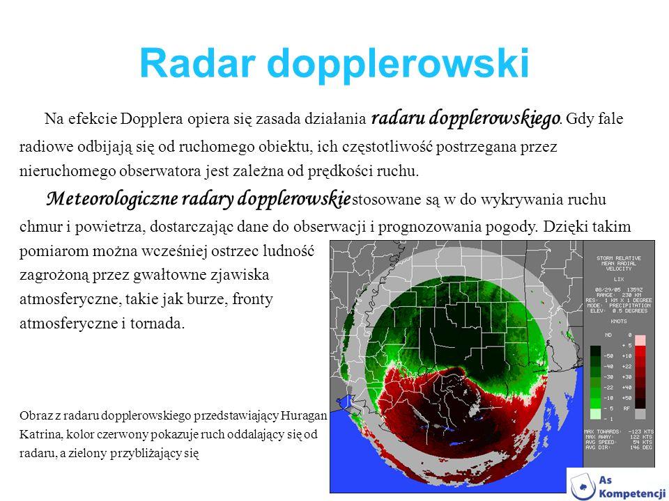 Radar dopplerowski Na efekcie Dopplera opiera się zasada działania radaru dopplerowskiego. Gdy fale.