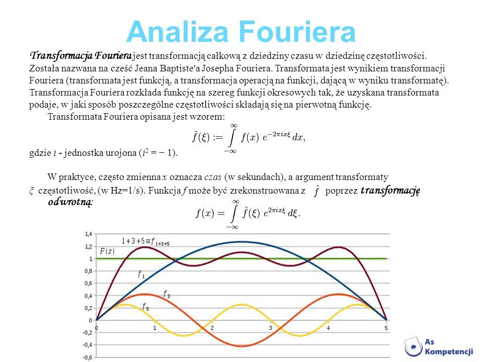 Analiza Fouriera Transformacja Fouriera jest transformacją całkową z dziedziny czasu w dziedzinę częstotliwości.