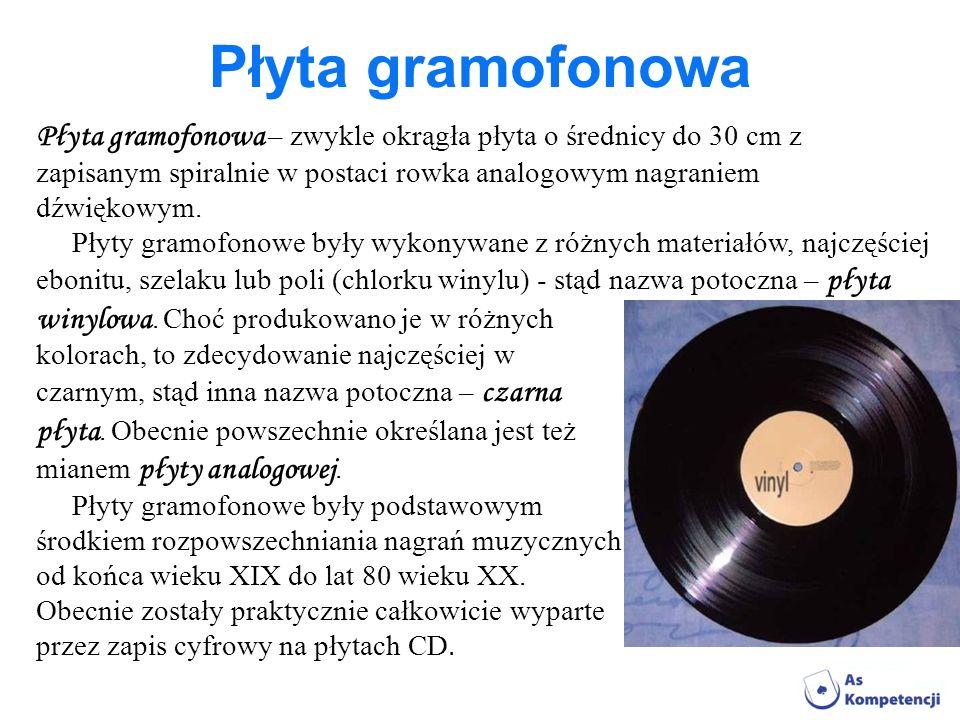 Płyta gramofonowa Płyta gramofonowa – zwykle okrągła płyta o średnicy do 30 cm z. zapisanym spiralnie w postaci rowka analogowym nagraniem.