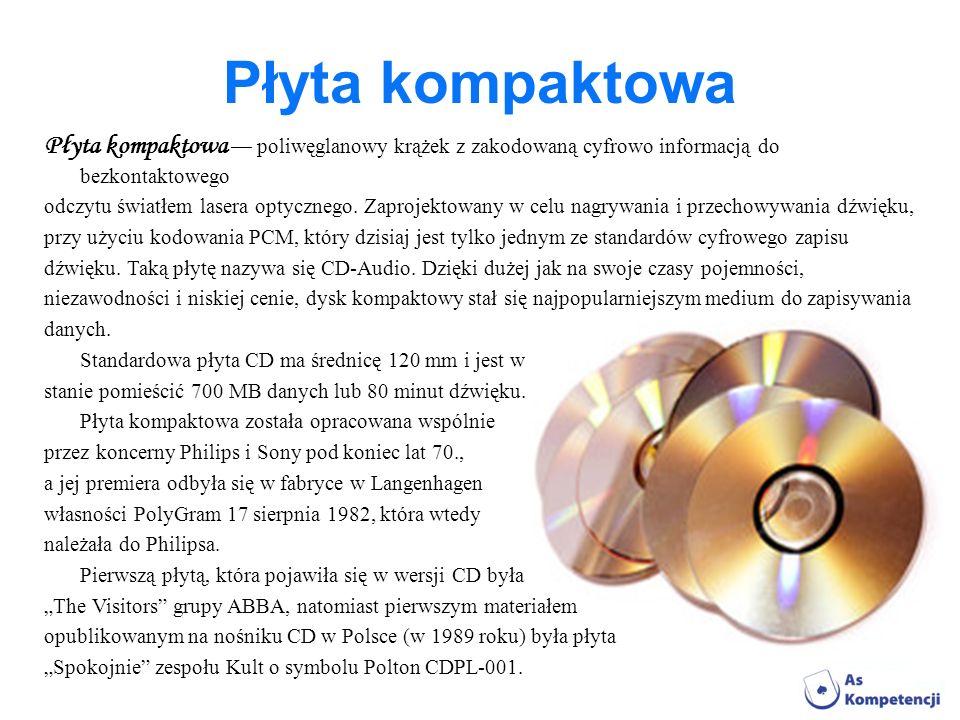Płyta kompaktowa Płyta kompaktowa — poliwęglanowy krążek z zakodowaną cyfrowo informacją do bezkontaktowego.