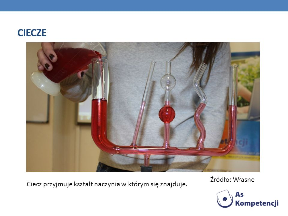 ciecze Źródło: Własne Ciecz przyjmuje kształt naczynia w którym się znajduje.
