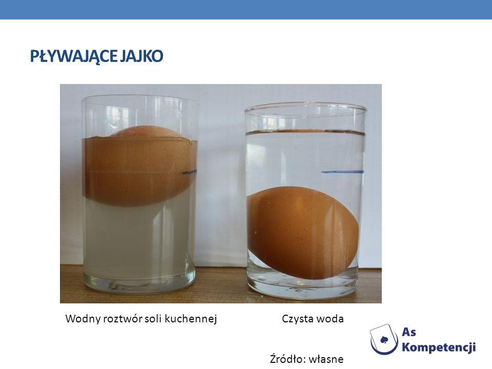 Pływające jajko Wodny roztwór soli kuchennej Czysta woda