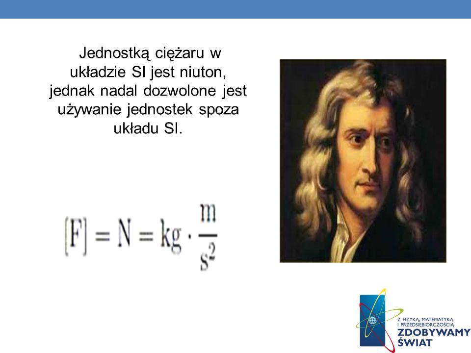 Jednostką ciężaru w układzie SI jest niuton, jednak nadal dozwolone jest używanie jednostek spoza układu SI.