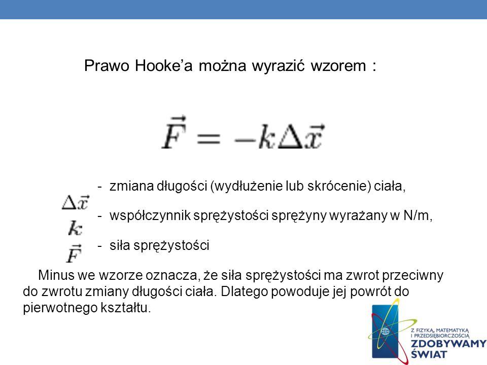 Prawo Hooke'a można wyrazić wzorem :