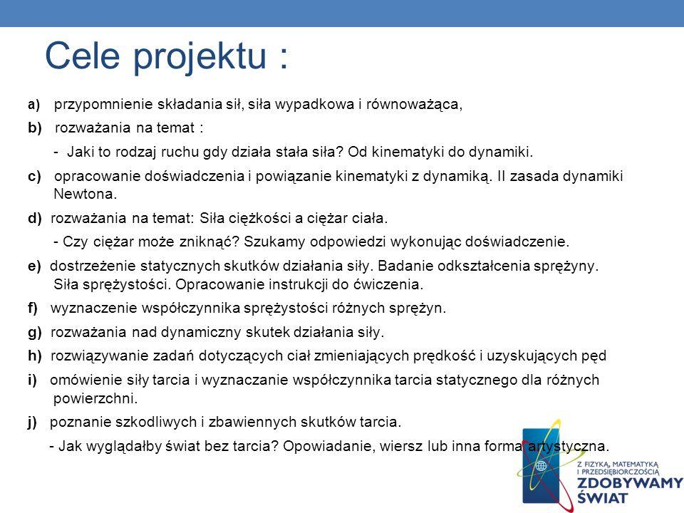 Cele projektu : b) rozważania na temat :