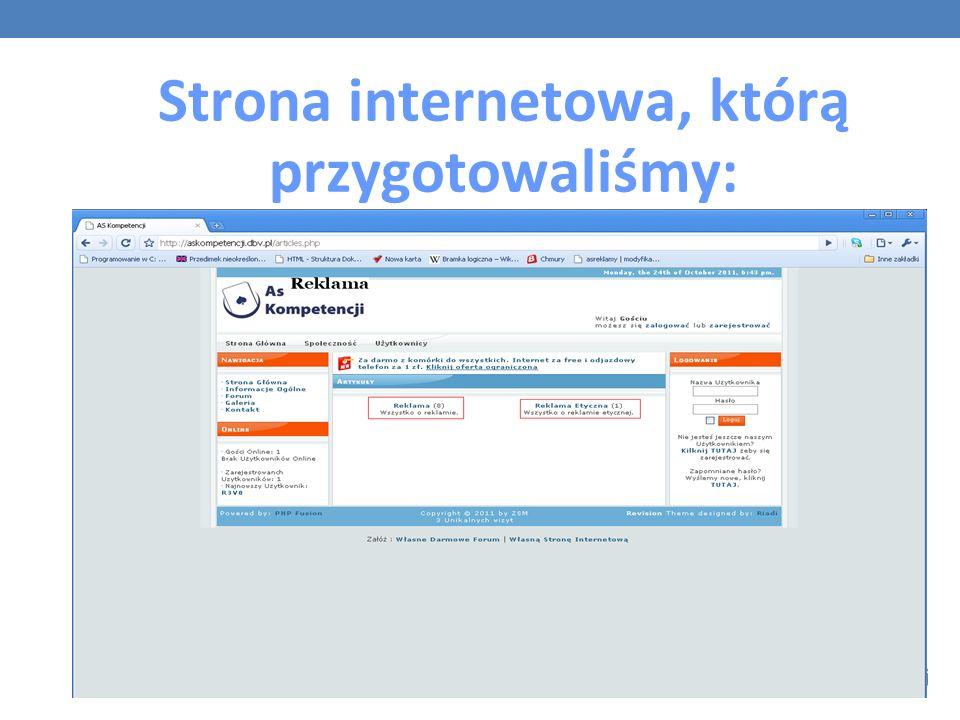 Strona internetowa, którą przygotowaliśmy: