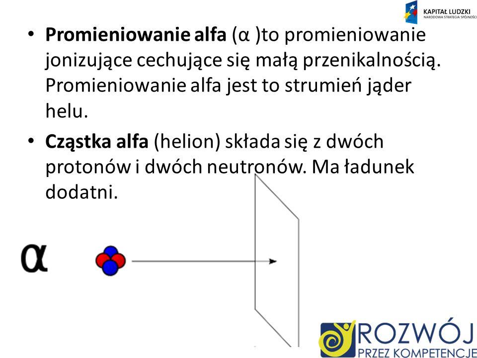 Promieniowanie alfa (α )to promieniowanie jonizujące cechujące się małą przenikalnością. Promieniowanie alfa jest to strumień jąder helu.