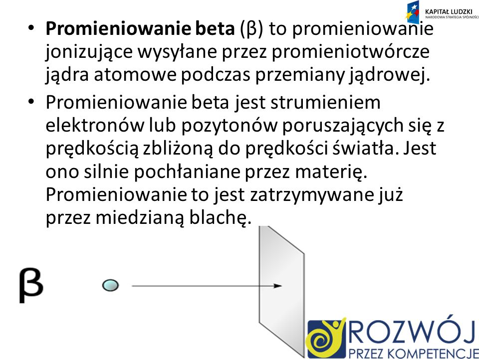Promieniowanie beta (β) to promieniowanie jonizujące wysyłane przez promieniotwórcze jądra atomowe podczas przemiany jądrowej.
