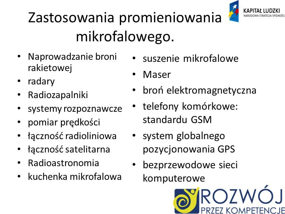 Zastosowania promieniowania mikrofalowego.