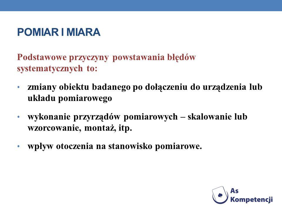 POMIAR I MIARA Podstawowe przyczyny powstawania błędów systematycznych to: