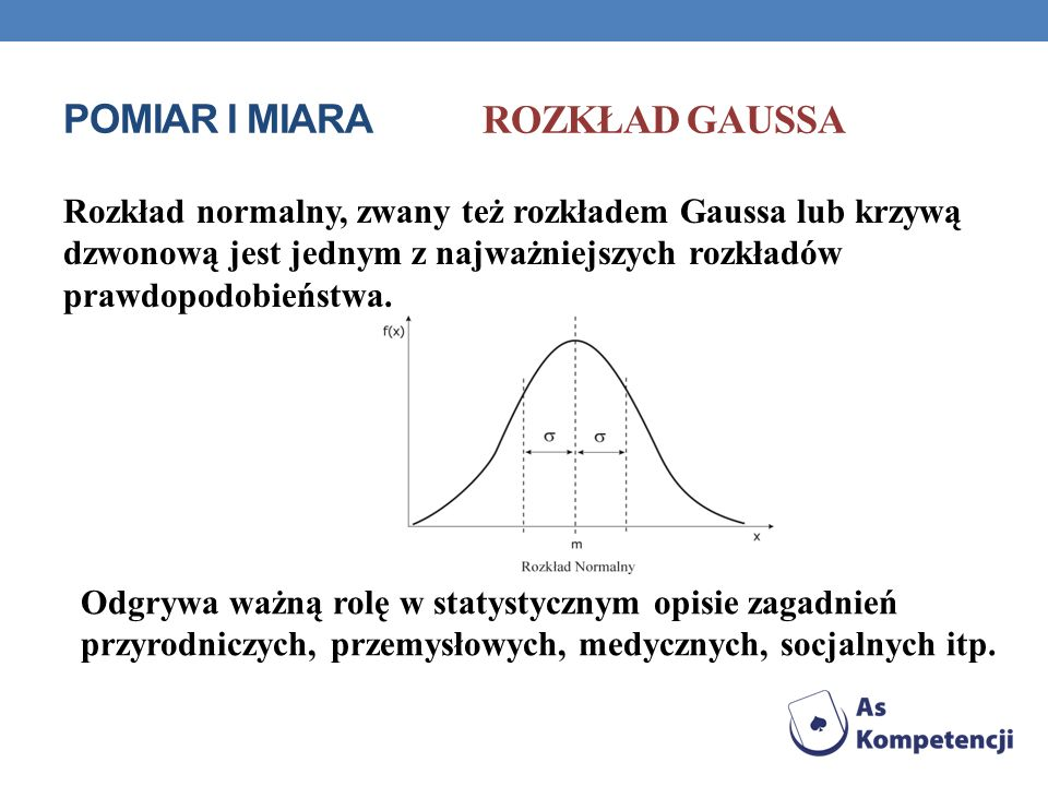 POMIAR I MIARA Rozkład Gaussa