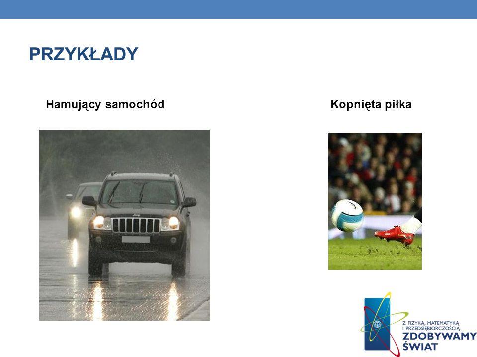 Przykłady Hamujący samochód Kopnięta piłka