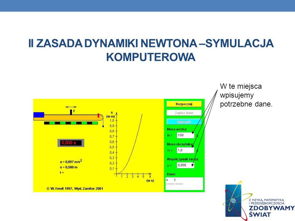 II zasada dynamiki Newtona –symulacja komputerowa