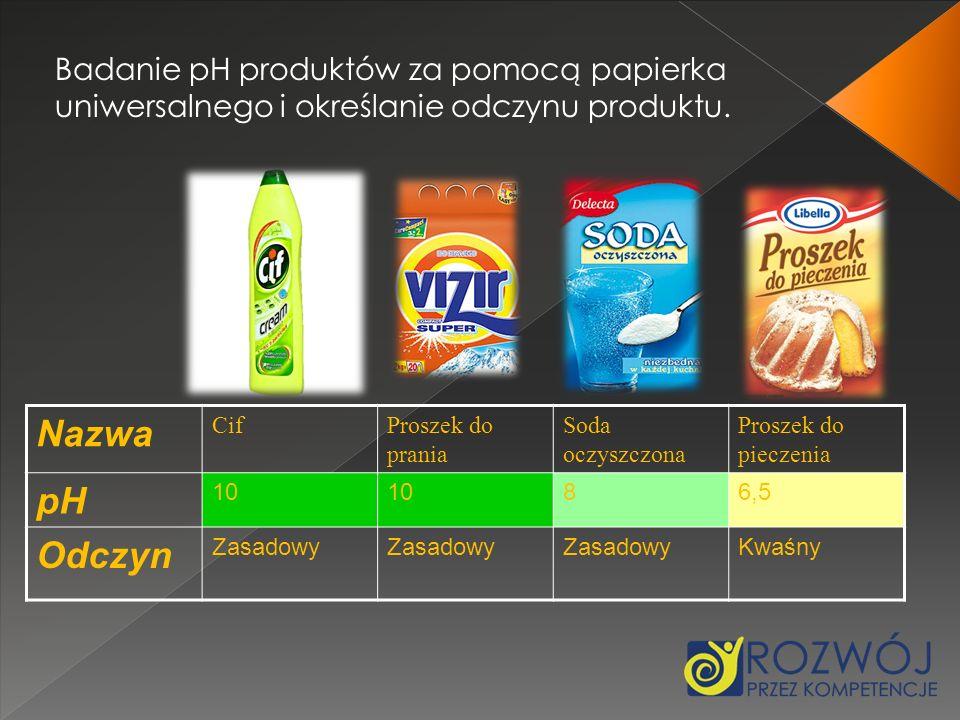 Badanie pH produktów za pomocą papierka uniwersalnego i określanie odczynu produktu.