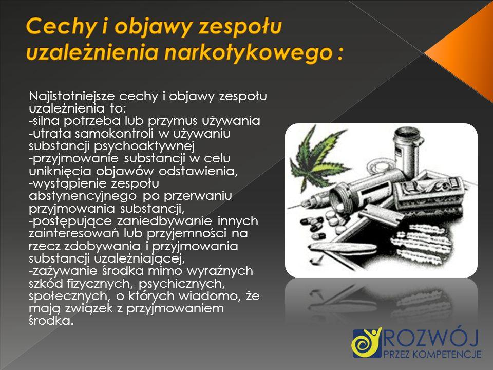 Cechy i objawy zespołu uzależnienia narkotykowego :