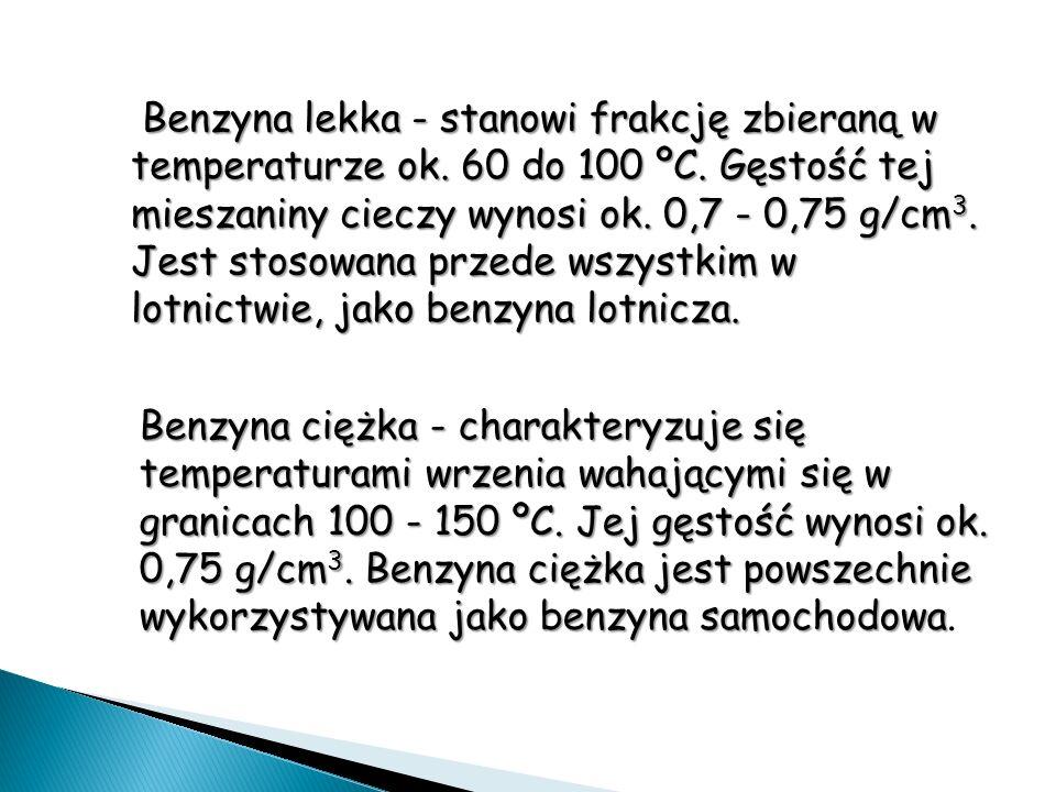 Benzyna lekka - stanowi frakcję zbieraną w temperaturze ok