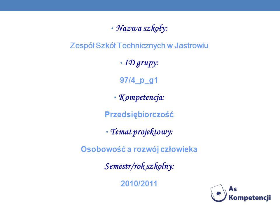 Zespół Szkół Technicznych w Jastrowiu Osobowość a rozwój człowieka