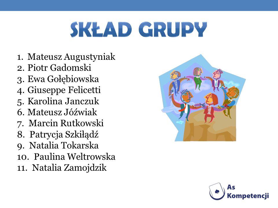 Skład grupy Mateusz Augustyniak Piotr Gadomski Ewa Gołębiowska