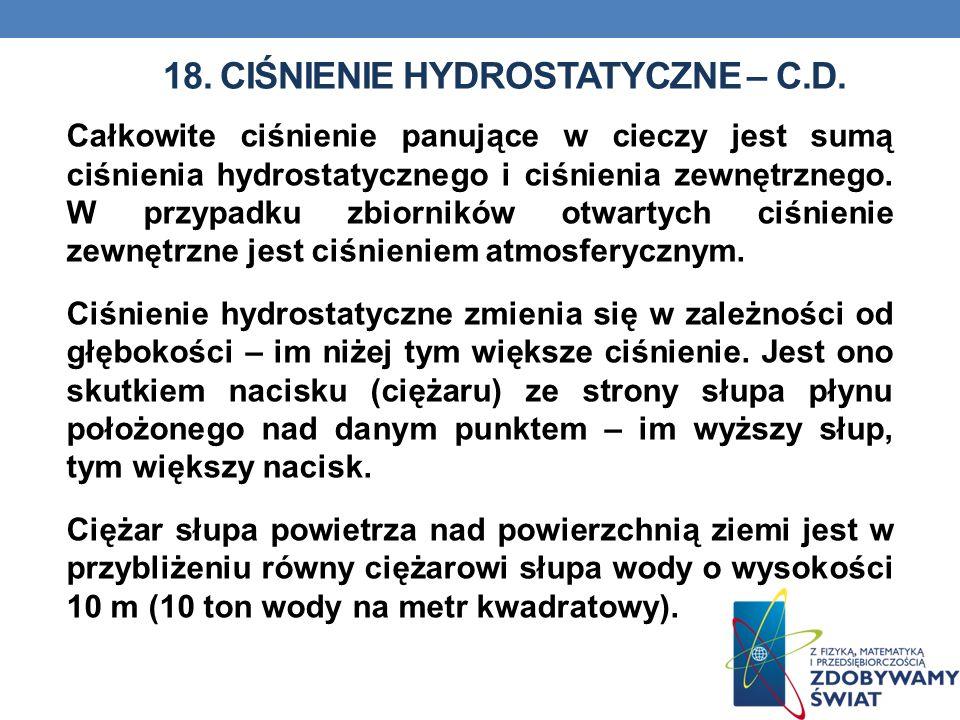 18. CIŚNIENIE HYDROSTATYCZNE – c.d.