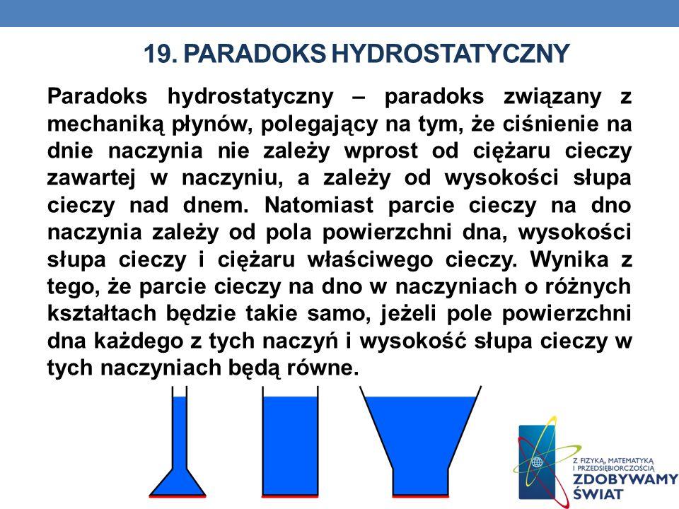 19. PARADOKS HYDROSTATYCZNY