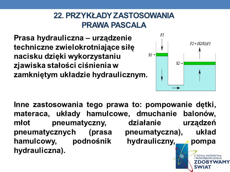 22. Przykłady zastosowania prawa pascala