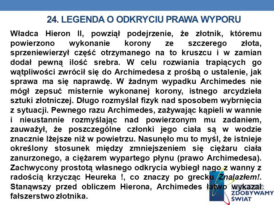 24. Legenda o odkryciu prawa wyporu