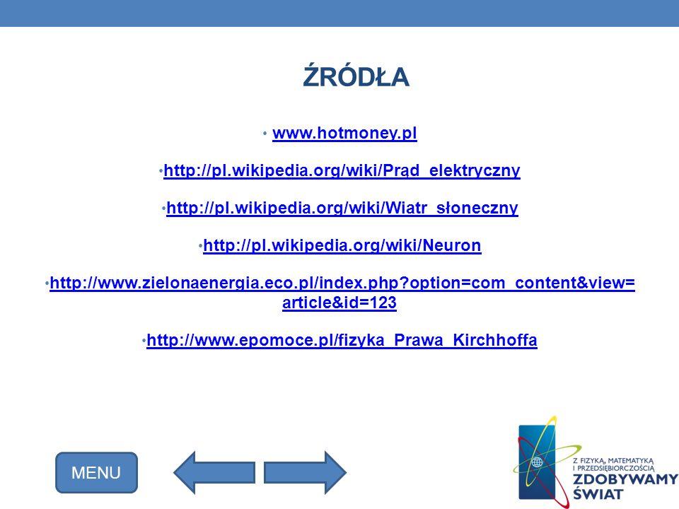 Źródła www.hotmoney.pl http://pl.wikipedia.org/wiki/Prąd_elektryczny