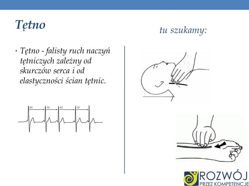 Tętno tu szukamy: Tętno - falisty ruch naczyń tętniczych zależny od skurczów serca i od elastyczności ścian tętnic.