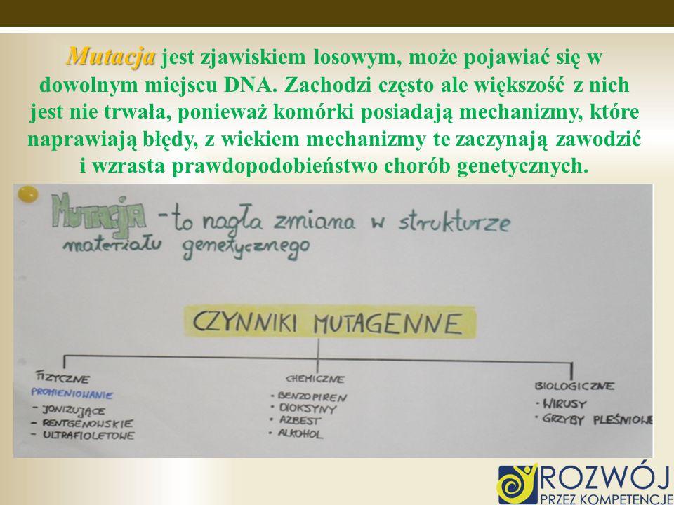 Mutacja jest zjawiskiem losowym, może pojawiać się w dowolnym miejscu DNA.