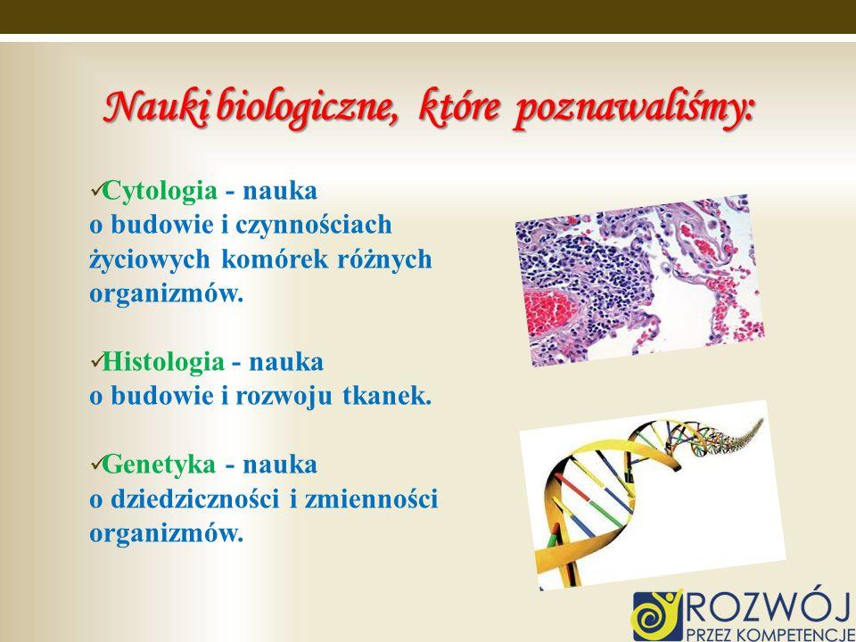 Nauki biologiczne, które poznawaliśmy: