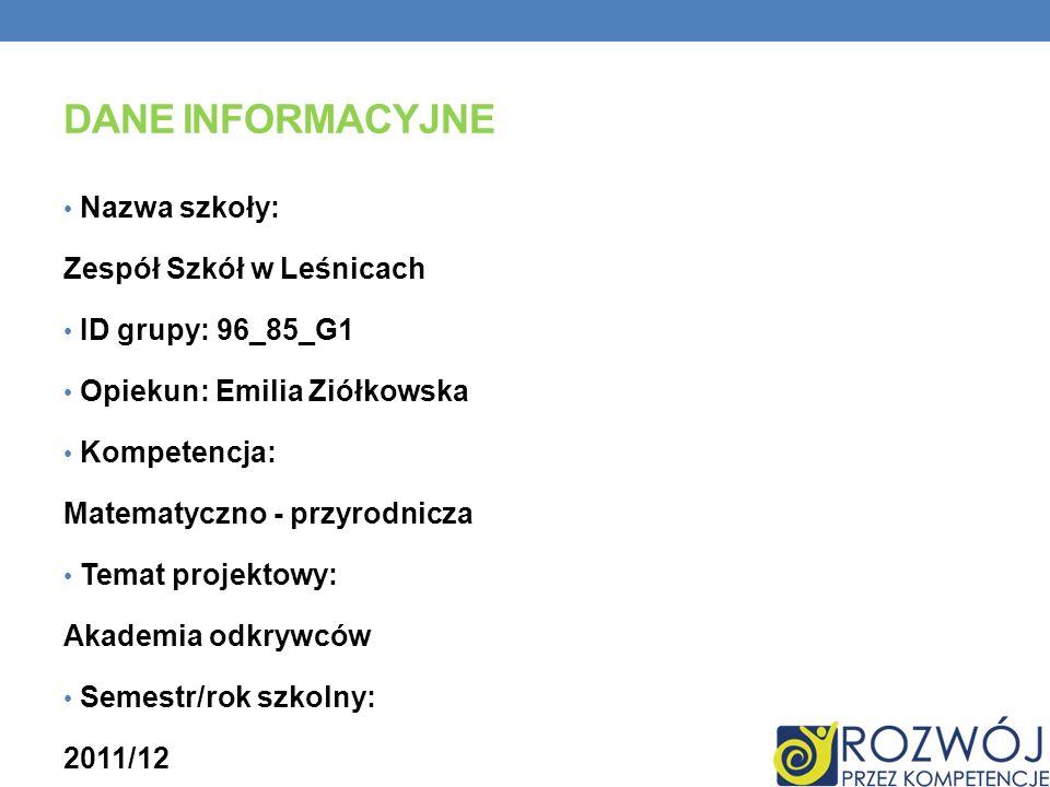 Dane INFORMACYJNE Nazwa szkoły: Zespół Szkół w Leśnicach