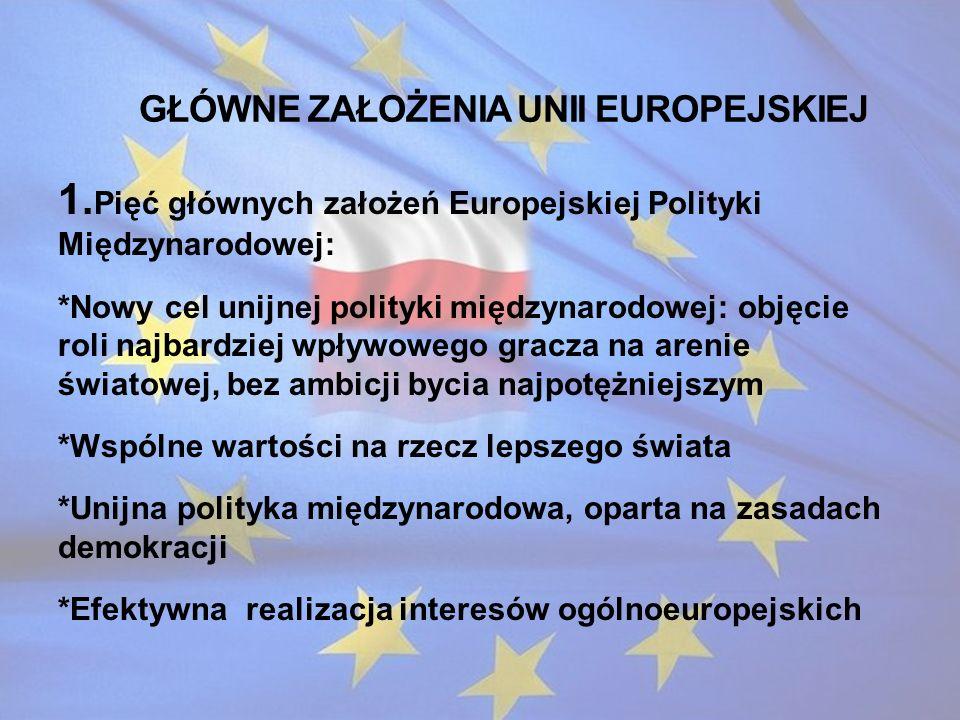 Główne założenia Unii Europejskiej