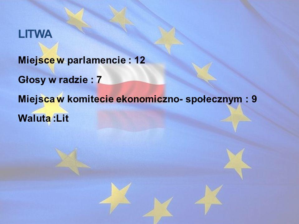 Litwa Miejsce w parlamencie : 12 Głosy w radzie : 7 Miejsca w komitecie ekonomiczno- społecznym : 9 Waluta :Lit