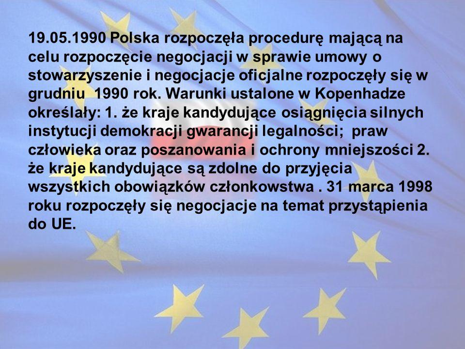 19.05.1990 Polska rozpoczęła procedurę mającą na celu rozpoczęcie negocjacji w sprawie umowy o stowarzyszenie i negocjacje oficjalne rozpoczęły się w grudniu 1990 rok.